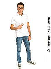 t-shirt, branca, casual, homem
