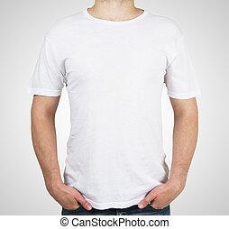 t-shirt, branca, homem