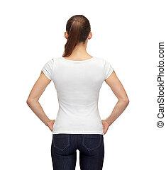 t-shirt, branca, mulher, em branco