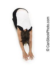 t-shirt, branca, mulher, ioga