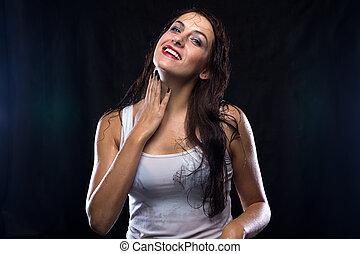 t-shirt, branca, mulher, molhados