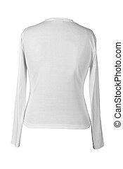 t-shirt, branca, tiro, costas, lado