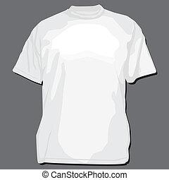 t-shirt, branca, vetorial, modelo