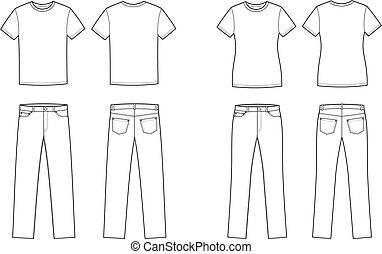 t-shirt, calças brim