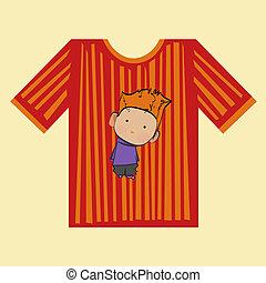t-shirt, chłopiec, obnaża