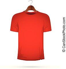 t-shirt, cintre, rouges