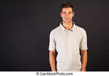 t-shirt, cinzento, backgraund, pretas, pólo, sorrizo, homem