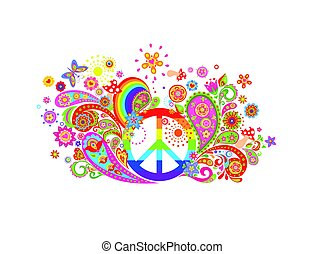 T-shirt colorful print with abstract flowers, hippie peace...