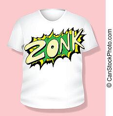 t-shirt, comico, vettore, disegno