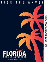 t-shirt, conception, surfer, palms., print., graphique, floride