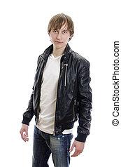 t-shirt, couro, jovem, isolado, casaco, jeans., white.,...