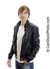 t-shirt, cuoio, giovane, isolato, giacca, jeans., white., bianco, casuale, uomo