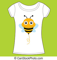 t-shirt, cute, konstruktion, bee.