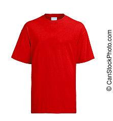 t-shirt, czerwony