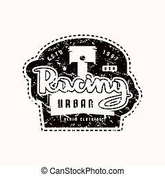 t-shirt, da corsa, emblema