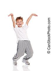 t-shirt, dançar, menino, vestido, branca