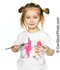 t-shirt, dans, les, peinture