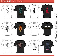 t shirt decorative concept designs set