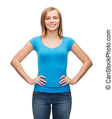 smiling girl in blank blue t-shirt