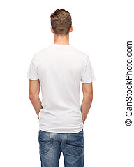 young man in blank white t-shirt from back - t-shirt design...