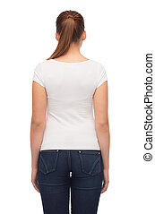 young woman in blank white t-shirt