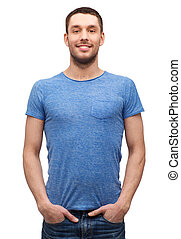 smiling man in blank blue t-shirt