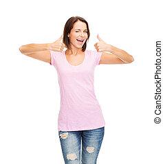 woman in blank pink t-shirt - t-shirt design concept -...