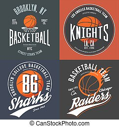 T-shirt design for basketball fans for usa new york brooklyn street team, knights college team and chicago raiders with balls emblems. Can be used for banner on sportswear or sport gear logotype
