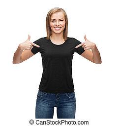 woman in blank black t-shirt - t-shirt design, happy people...