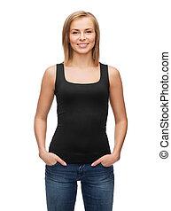 woman in blank black tank top