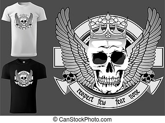 Skull with Royal Crown and Wings