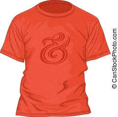 T-shirt design template with texture and ampersand hand...