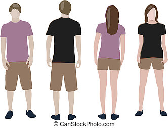 t-shirt design templates (front & back) on male and female ...