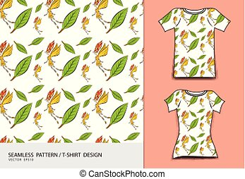 T-shirt design vector illustration, Cute little fairy and leaves