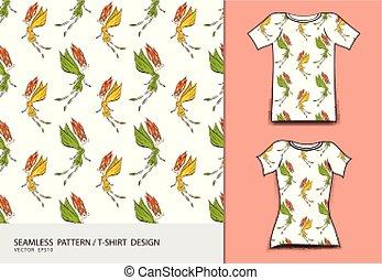 T-shirt design vector illustration, Cute little fairy cartoon