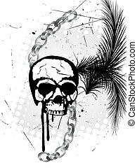 Vector illustration of a scull and chains on an abstract background