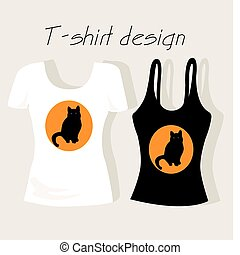 T-shirt design with black cat