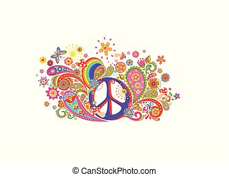 T-shirt design with colorful print with hippie peace symbol, abstract flowers, mushrooms, paisley and rainbow on white background