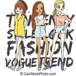 T-shirt design with cute fashion girls