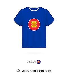 T-shirt design with flag of ASEAN.