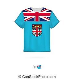 T-shirt design with flag of Fiji.