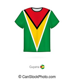 T-shirt design with flag of Guyana. T-shirt vector template.