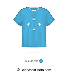 T-shirt design with flag of Micronesia.