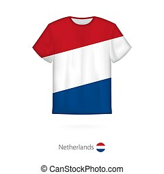 T-shirt design with flag of Netherlands.