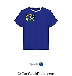 T-shirt design with flag of Nevada U.S. state.