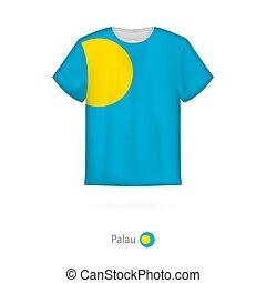 T-shirt design with flag of Palau.