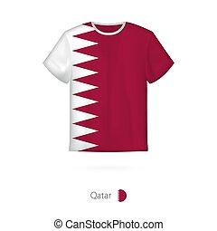 T-shirt design with flag of Qatar.