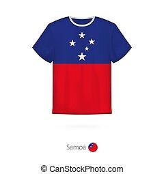 T-shirt design with flag of Samoa.