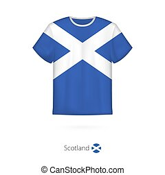 T-shirt design with flag of Scotland.