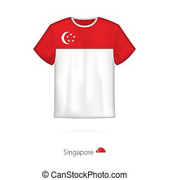 T-shirt design with flag of Singapore.